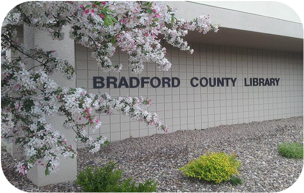 bradford county library sign with cherry blossoms