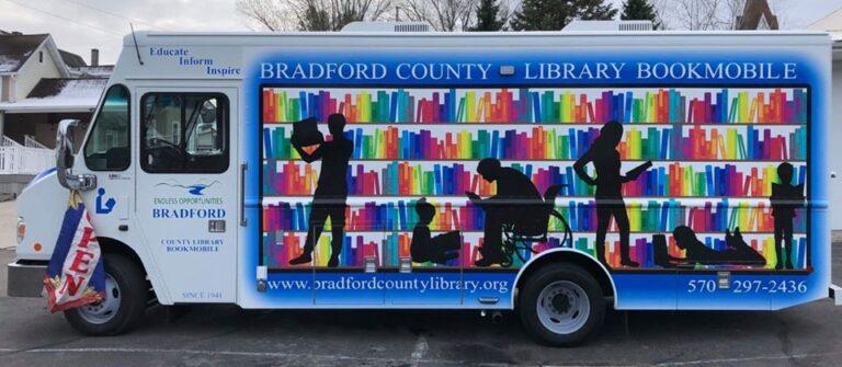 bradford county bookmobile rainbow book mural